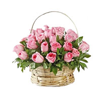 Christmas Flowers to Hyderabad to Send Pink Roses Basket 24 Flowers in Hyderabad