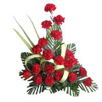 Same Day New Year Flowers to Hyderabad comprising Red Carnation Arrangement 20 Flowers in Tirupti
