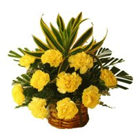 Place Online Order for Yellow Carnation Basket 12 Flowers to Hyderabad