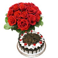 Send Birthday Gifts to Kurnool. 1/2 Kg Black Forest Cake 12 Red Roses Bouquet Delivery in Kurnool