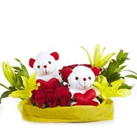 Deliver Valentine's Day Gift in Hyderabad - Yellow Lily 12 Red Roses 2 Small Teddy Basket