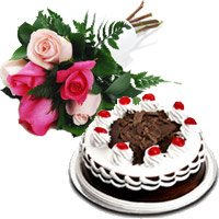 Send 6 Mix Roses 1/2 Kg Black Forest Cakes to Hyderabad for Diwali Hyderabad
