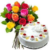 Deliver Diwali Flowers in Hyderabad. 12 Mix Roses 1 Kg Pineapple Cake in Hyderabad