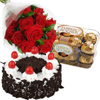 Birthday Gifts Delivery to Khammam. Combination of 12 Red Roses 1 Kg Cake and 16 pcs Ferrero Rocher Chocolates to Khammam