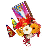 12 Mix Gerbera Bunch with 2 Box Flower Pot(Anaar). Gifts in Vjayawada.