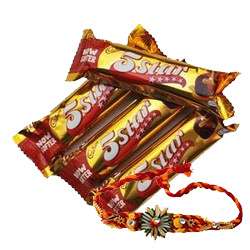 Send Rakhi to Hyderabad Same Day Delivery for 4 piece 5 Star Chocolates with 1 Rakhi