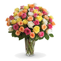 Diwali Florist Hyderabad consisting Mixed Roses Vase 36 Flowers in Hyderabad