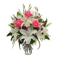 Send Pink Roses and White Lily in Vase 12 Flowers in Hyderabad