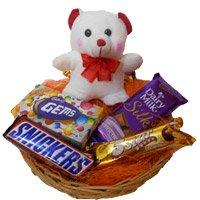 Birthday Gifts to Narsapur. Basket of 6 Inch Teddy and Chocolates to Narsapur