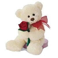 Same Day Valentine's Day Gifts to Hyderabad : Teddy Bear With a Rose to Hyderabad