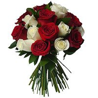 Send Flowers to Khammam. Send Red White Roses Bouquet of 18 Flowers in Khammam