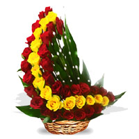 Flowers to Hyderabad : Red Yellow Roses Arrangement 45 Flowers in Vizag