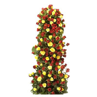 Diwali Flowers to Hyderabad to Send Yellow Red Roses Tall Arrangement 100 Flowers