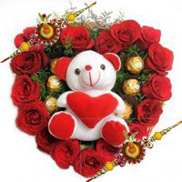Place Order for 18 Red Roses with 5 Ferrero Rocher Chocolates in Hyderabad and Teddy Heart to Hyderabad on Rakhi