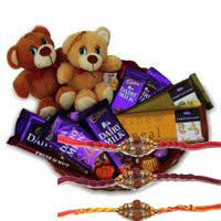Online Order for Twin Teddy Basket of Chocolates in Hyderabad. Deliver Rakhi Gifts to Hyderabad