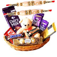 Send Rakhi Gift in Hyderabad with Exotic Chocolate Basket With 6 Inch Teddy on Rakhi