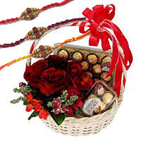 Order Rakhi Gifts to Hyderabad. 12 Red Roses, 40 Pcs Basket of Ferrero Rocher Chocolates to Hyderabad