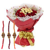 Online Rakhi Gift Delivery of 16 Pcs Ferrero Rocher Chocolate encircled with 20 Red Roses